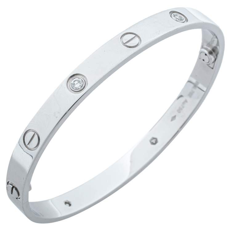 Cartier Love 4 Diamonds 18K White Gold Bracelet 18