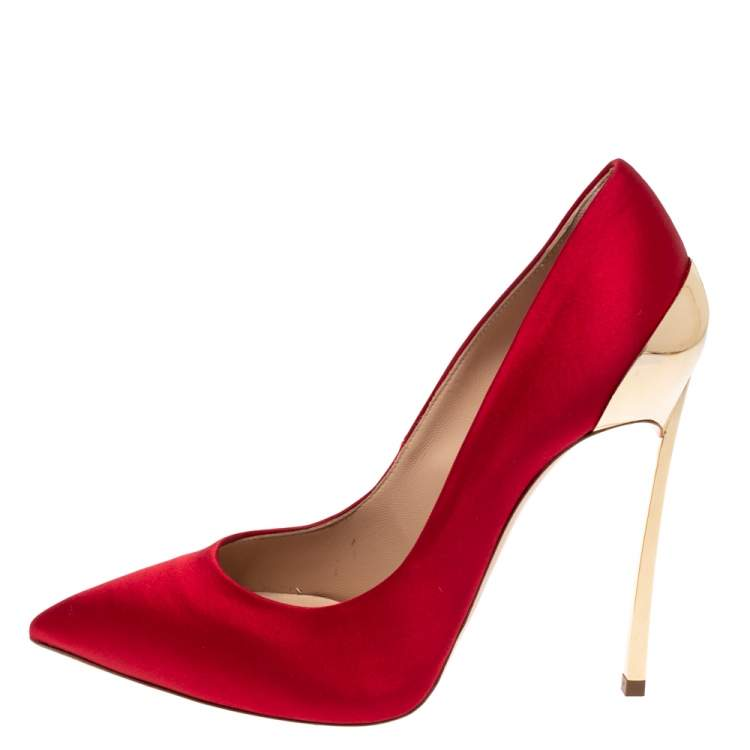 Casadei Red Satin Blade Pointed Toe