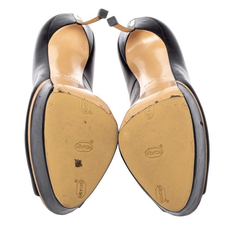 Casadei Black Leather Top-blade Peep Toe Platform Pumps Size 39