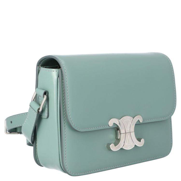 Celine Green Leather Teen Triomphe Shoulder Bag