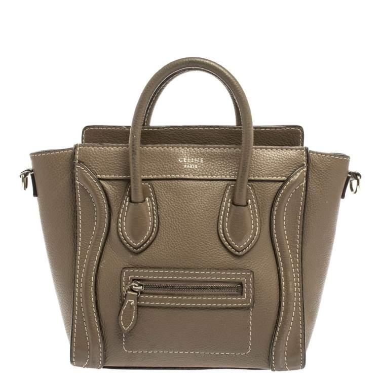 Celine Khaki Leather Nano Luggage Tote