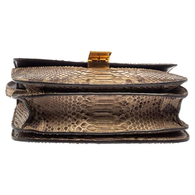 Celine Brown Python Medium Classic Box Shoulder Bag
