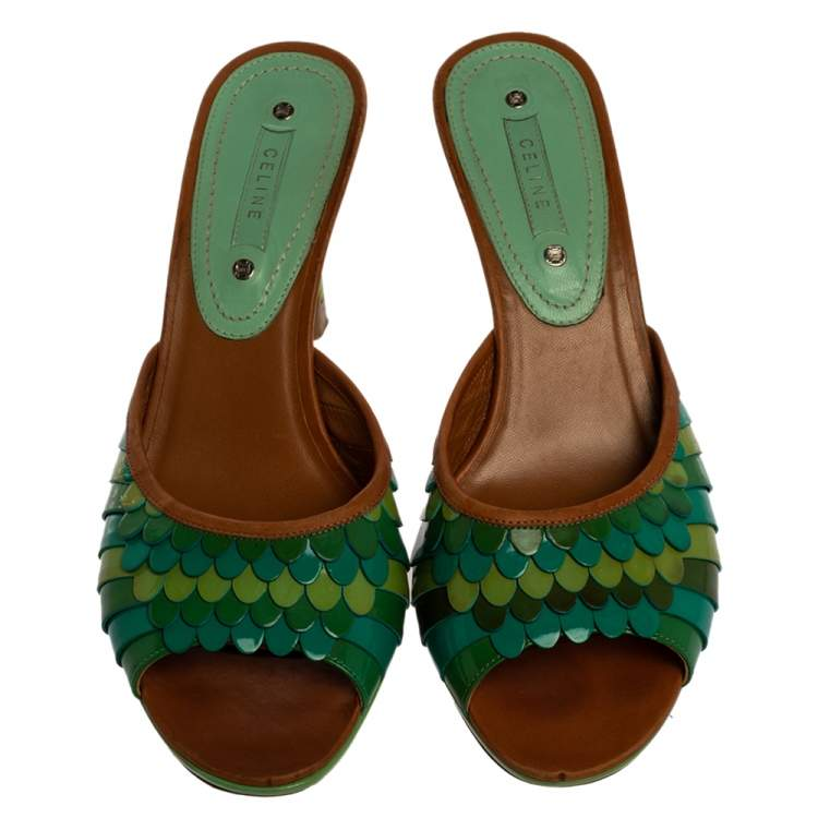 Celine Green Patent And Leather Trim Scalloped Open Toe Sandals Size 40