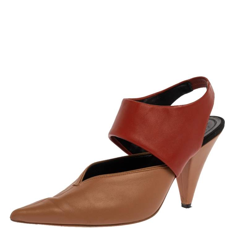 Celine Beige/Brown Leather Slingback Pointed Toe Sandals Size 37