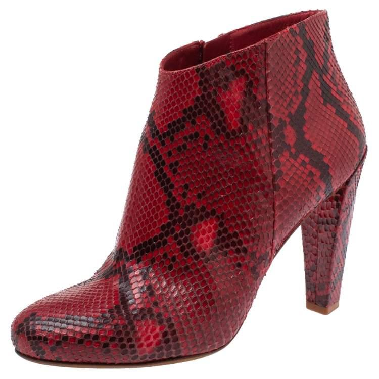 Celine Red Python Block Heels Ankle
