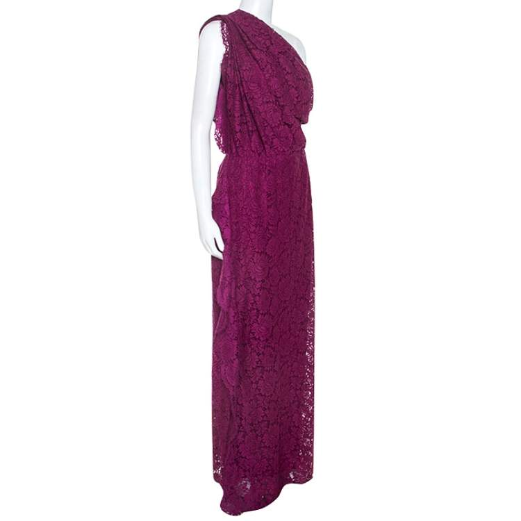 CH Carolina Herrera Purple Lace One Shoulder Maxi Dress M