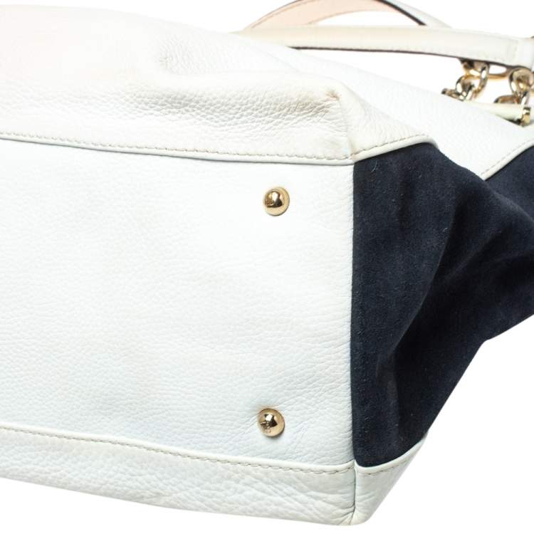 Carolina Herrera White/Blue Textured Leather And Suede Tote