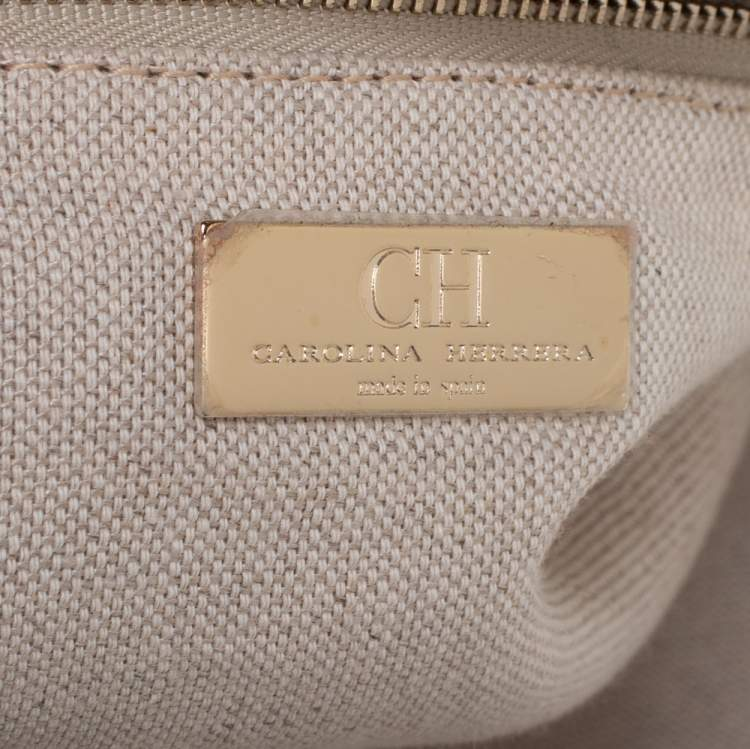 Carolina Herrera Brown Monogram Suede and Leather Dome Satchel