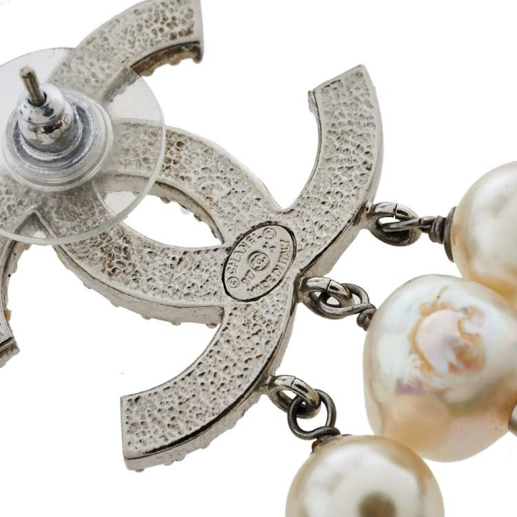Chanel CC Crystal and Pearl Drop Earrings