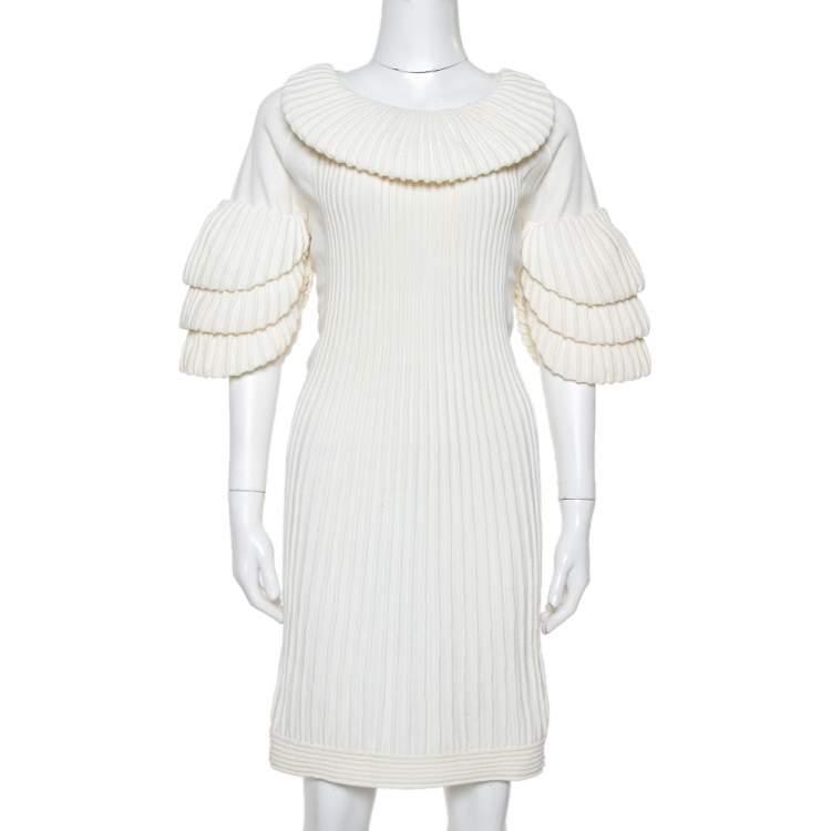 Chanel Cream Rib Knit Tiered Sleeve Detail Short Dress L