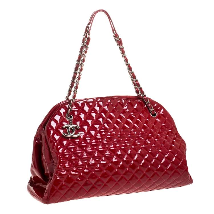 Chanel Red Quilted Patent Leather Large Just Mademoiselle Bowler Bag
