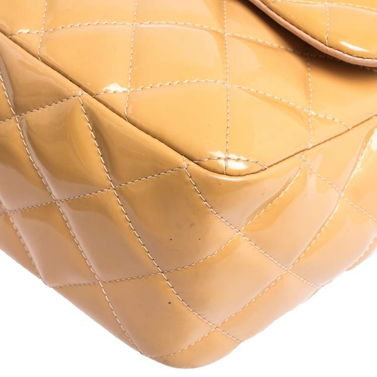 Chanel Beige Quilted Patent Leather Jumbo Classic Double Flap Bag