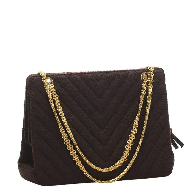 Chanel Brown Leather Chevron Shoulder Bag
