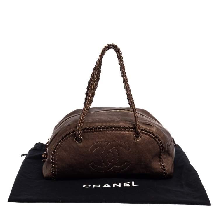Chanel Metallic Brown Leather Medium Luxe Ligne Bowler Bag
