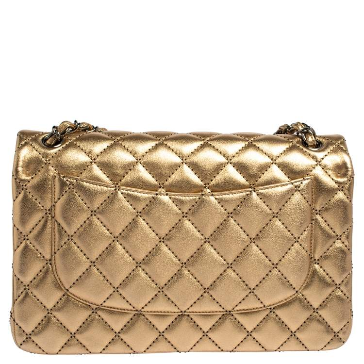 Chanel Gold Quilted Leather Jumbo Classic Double Flap Bag