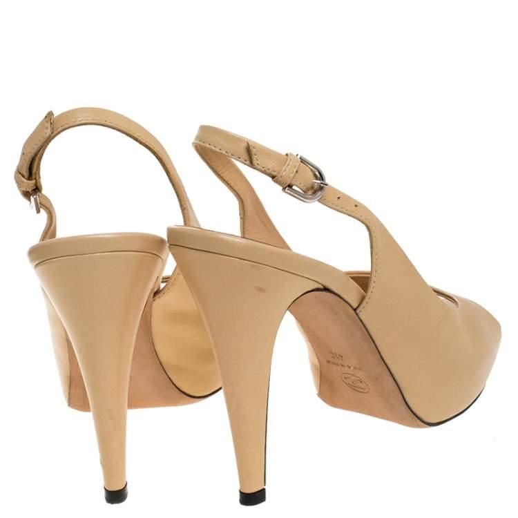 Chanel Beige Leather CC Peep Toe Platform Slingback Sandals Size 41