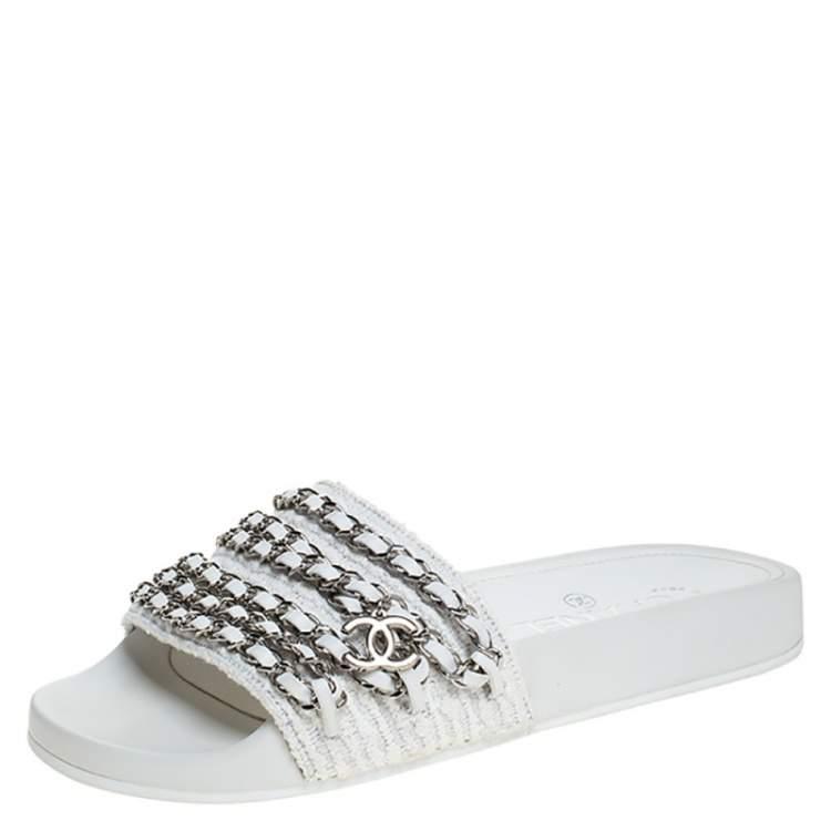 Chanel White Tweed Fabric CC Chain