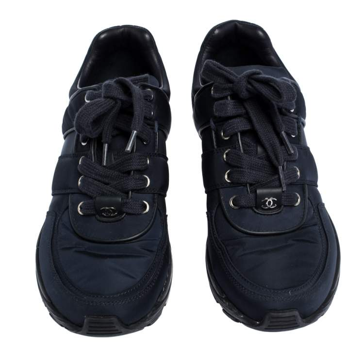 Chanel Blue/White Nylon And Leather Lace Up Sneakers Size 37.5