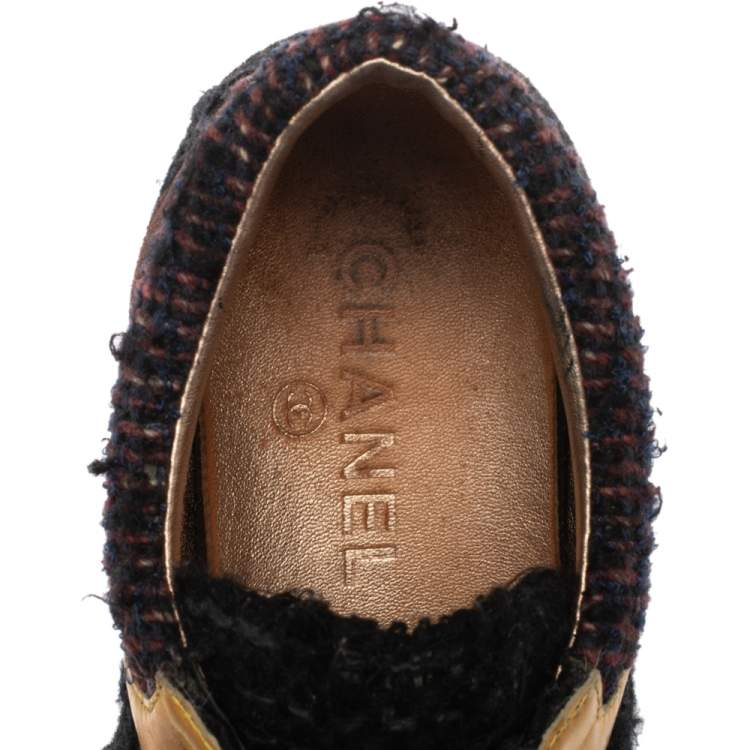 Chanel Multicolor Tweed, Suede and Metallic Leather Lace Up Sneakers Size 38