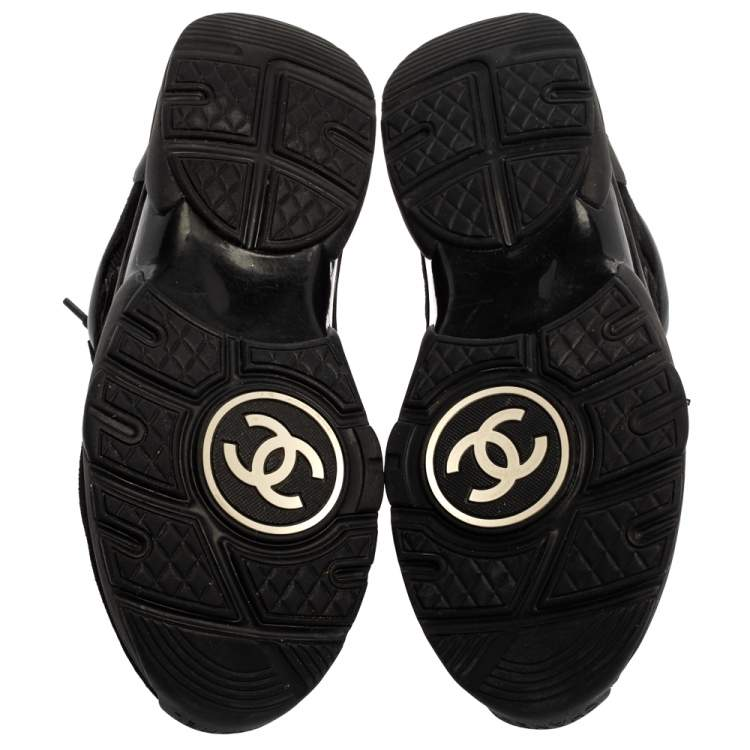 Chanel Black Suede And Mesh CC Sneakers Size 37