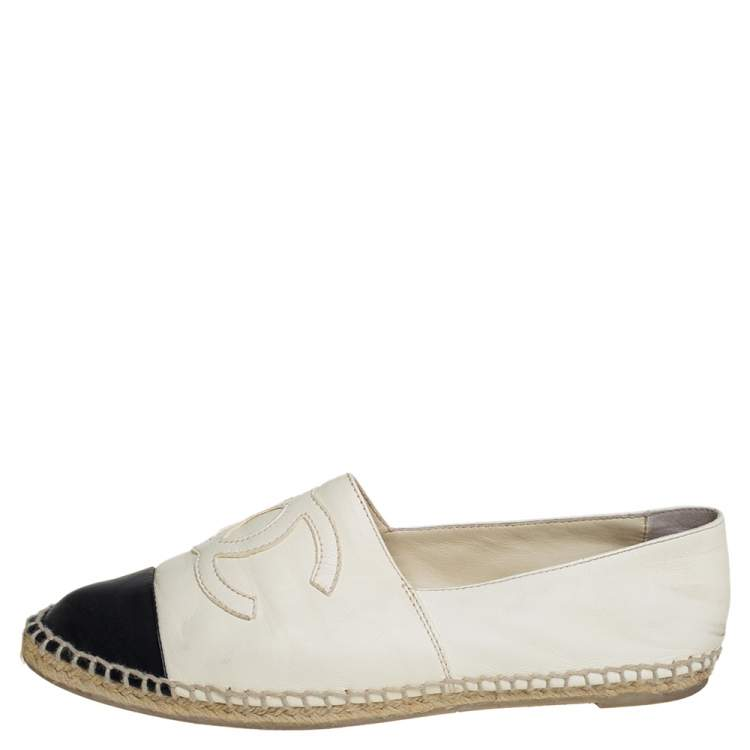 Chanel Cream/Black Leather CC Cap Toe Espadrille Flats Size 39