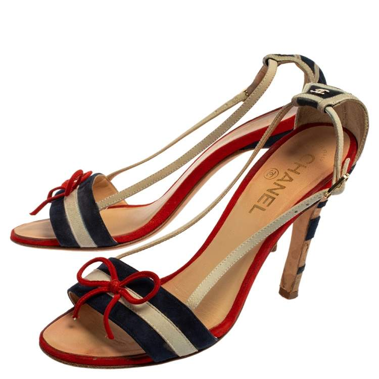 Chanel Multicolor Suede CC Bow Cork Heel Ankle Strap Sandals Size 37