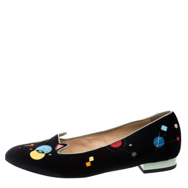 Charlotte Olympia Black Velvet Abstract Kitty Ballet Flats Size 40
