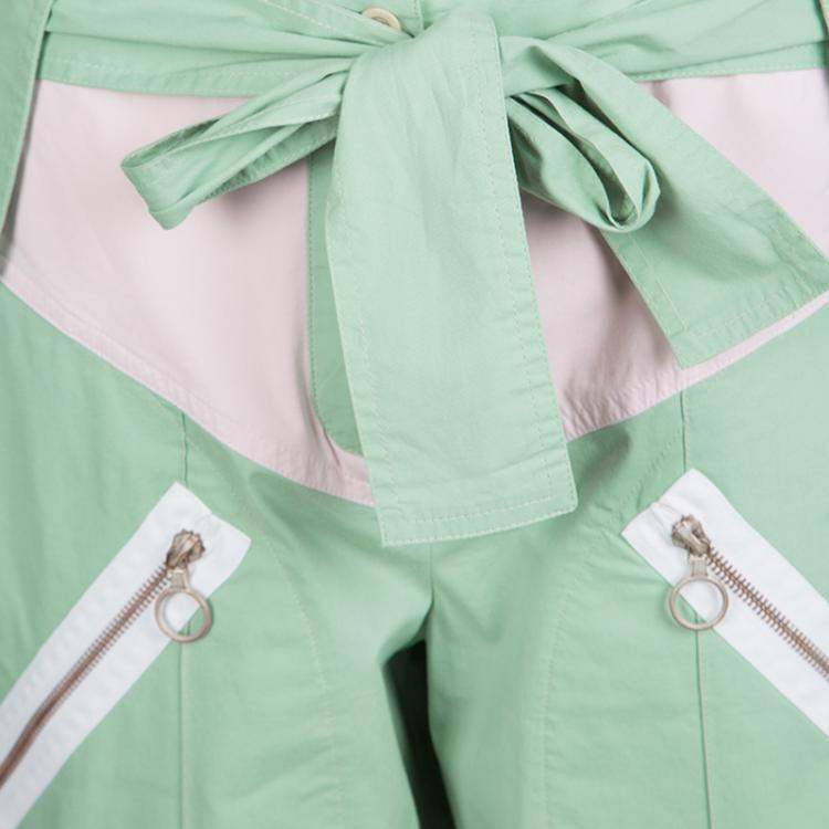 Chloe Green Cotton Contrast Trim and Knee Patch Detail Belted Pants M