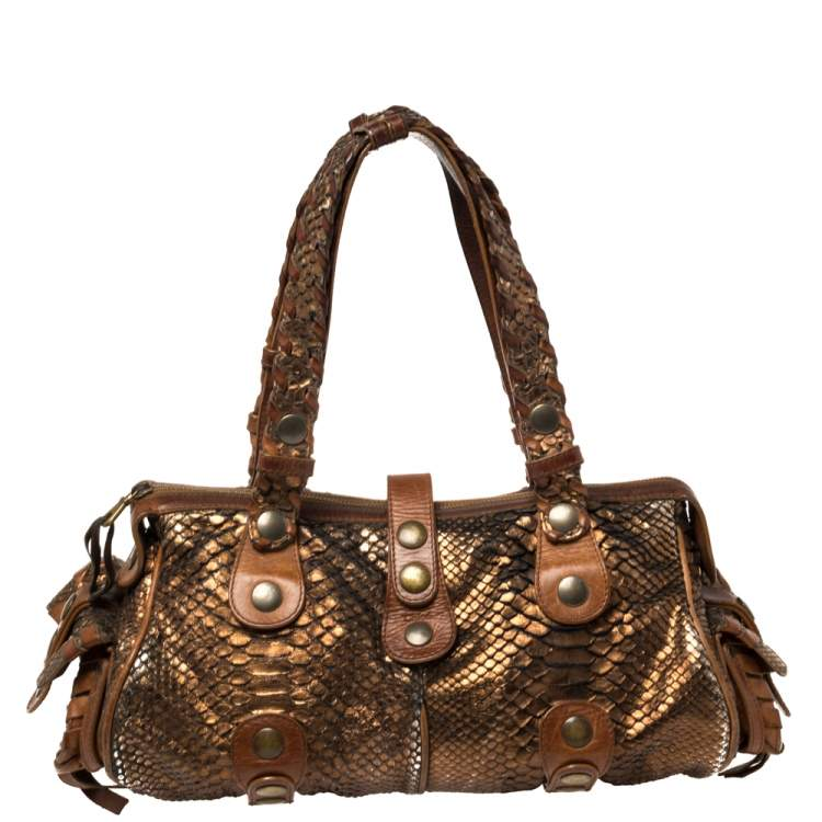 Chloe Brown/Bronze Python and Leather Silverado Satchel