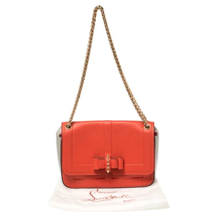 Christian Louboutin Dark Orange/Grey Leather Sweet Charity  Shoulder Bag