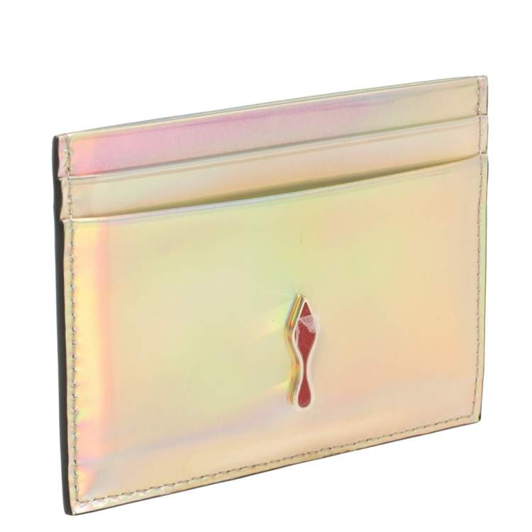 Christian Louboutin Silver Holographic Leather Card Holder