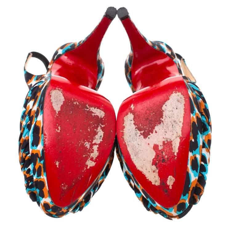 Christian Louboutin Multicolor Canvas Miss Benin Knotted Slingback Platform Sandals Size 36