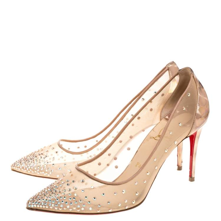 Christian Louboutin Beige/Gold Mesh And Leather Trim Follies Strass Pointed Toe Pumps Size 39.5