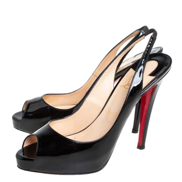 Christian Louboutin Black Patent Leather N°Prive Slingback Sandals Size 39.5