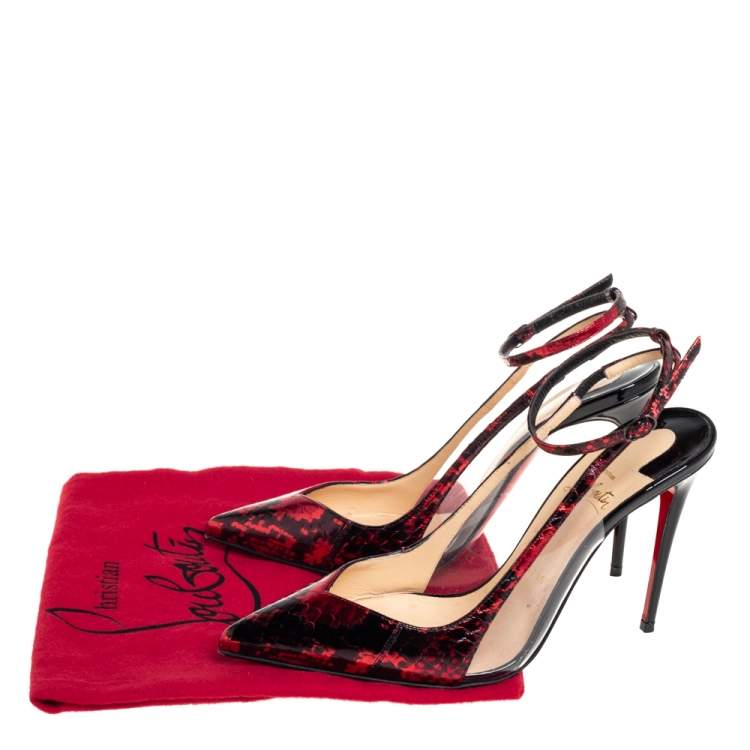 Christian Louboutin Red/Black Python-Embossed Leather and PVC Ankle Strap Pumps Size 38