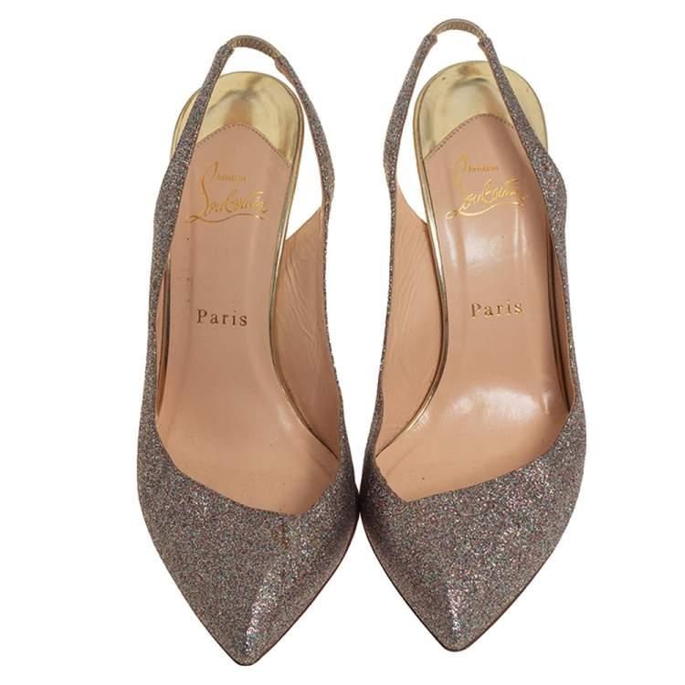 Christian Louboutin Multicolor Glitter Corneille Slingback Sandals Size 39.5