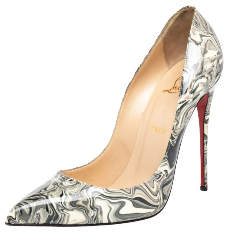 Christian Louboutin Grey Marble Print Patent Leather So Kate Pumps Size 40.5