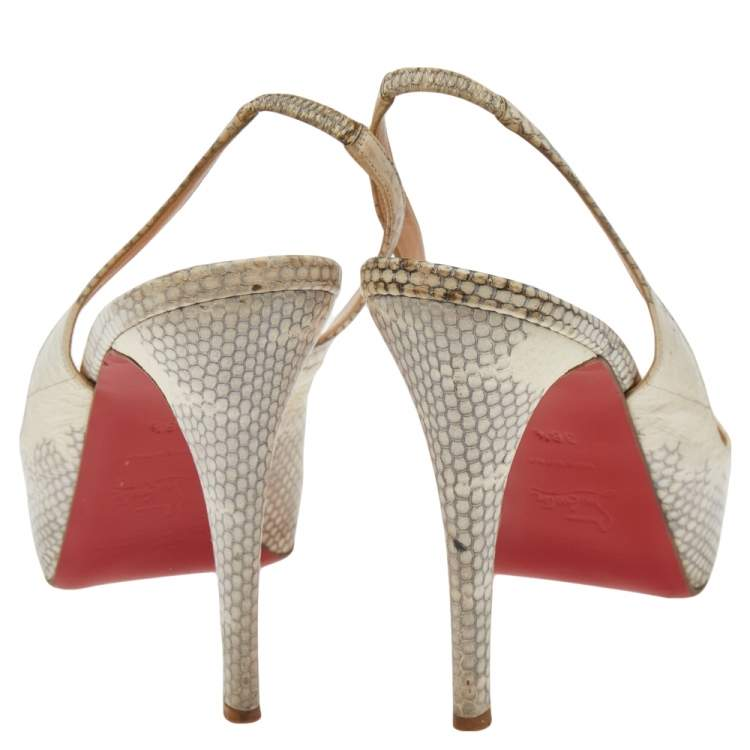 Christian Louboutin Beige Python Embossed Leather Private Number Slingback Sandals Size 38.5