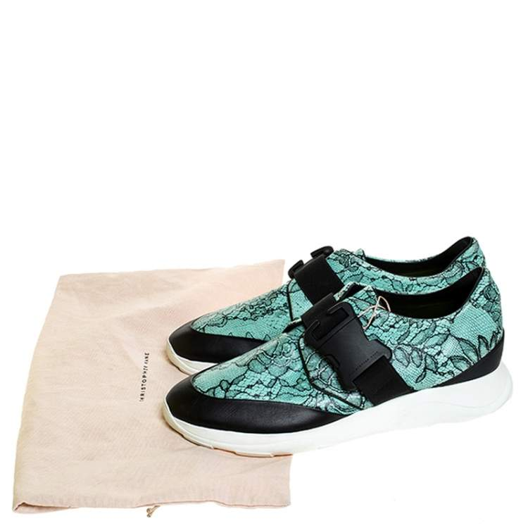 Christopher Kane Black/Blue Lace Print Leather Safety Buckle Low Top Sneakers Size 38