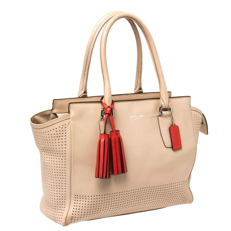 Coach Pink Perforated Leather Legacy Candace Carryall Tote