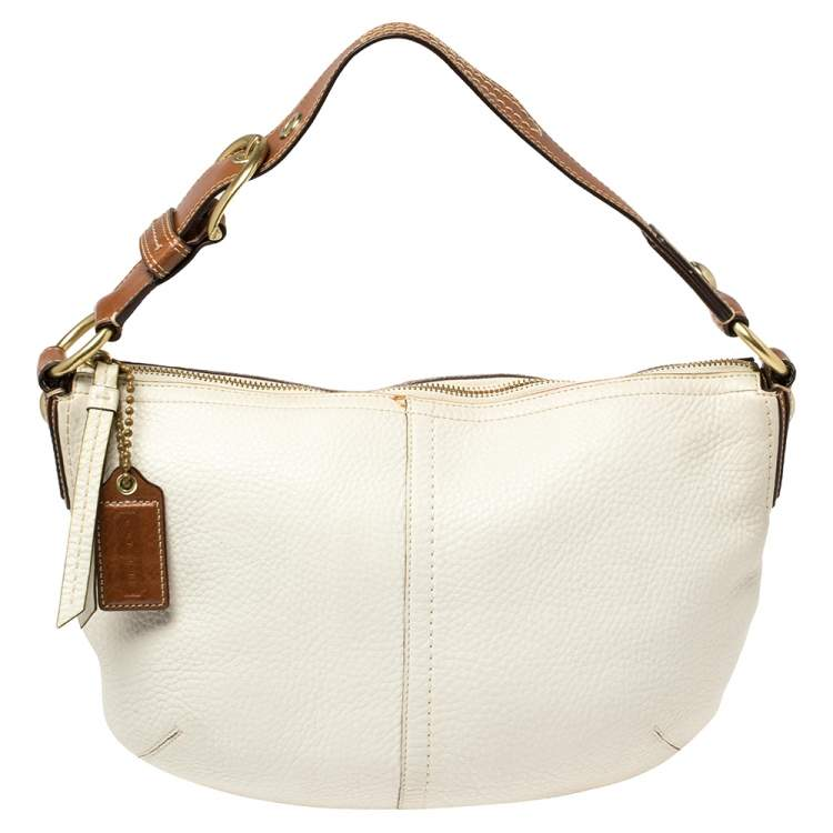 Coach White/Brown Pebbled Leather Buckle Handle Hobo