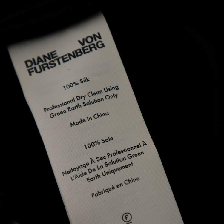 Diane von Furstenberg Black & Green Printed Sequined Silk Draped Skirt S