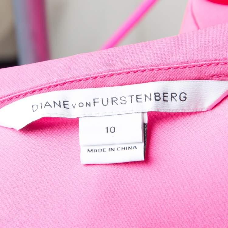 Diane Von Furstenberg Pink Silk Tie Detail Grandie Blouse L