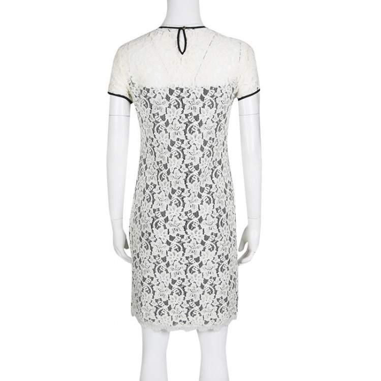 Diane Von Furstenberg Monochrome Floral Lace Barbie Dress S