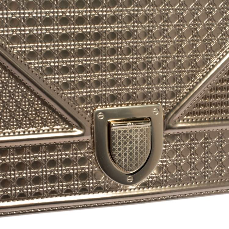 Dior Metallic Gold Patent Leather Medium Diorama Shoulder Bag