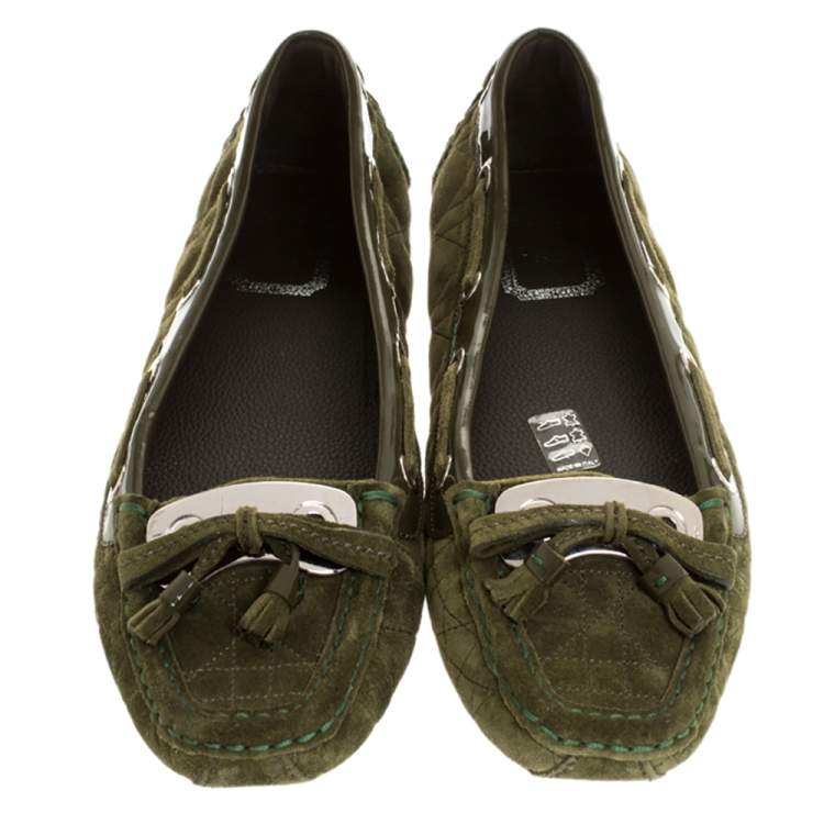 Dior Green Cannage Suede Bow Tassel Detail Slip On Loafers Size 41.5