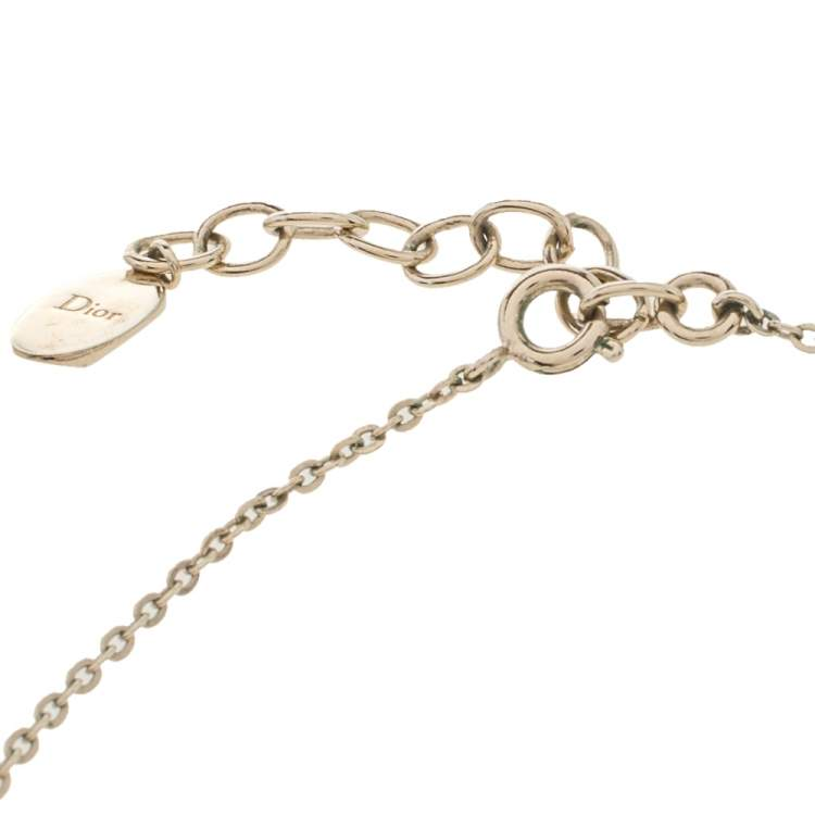 Dior Crystal Logo Pale Gold Tone Necklace