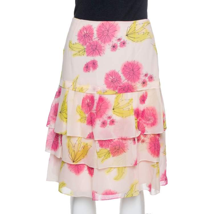 Dior Pink Floral Print Silk Tiered Skirt M