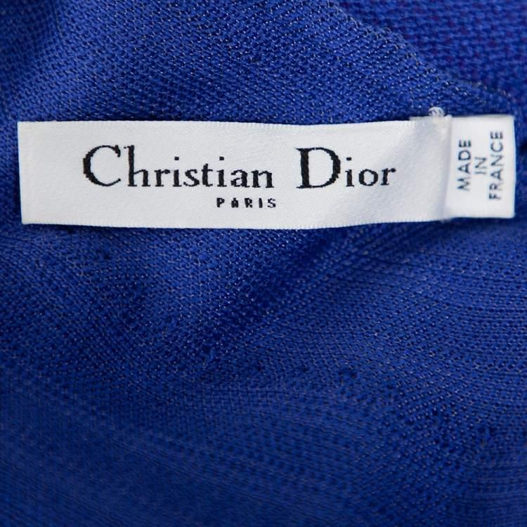 Christian Dior Blue Silk Knit Cross Back Detail Sleeveless Dress L