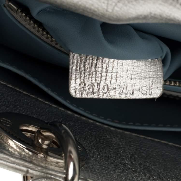 Dior Metallic Silver Leather Small My Lady Dior Tote